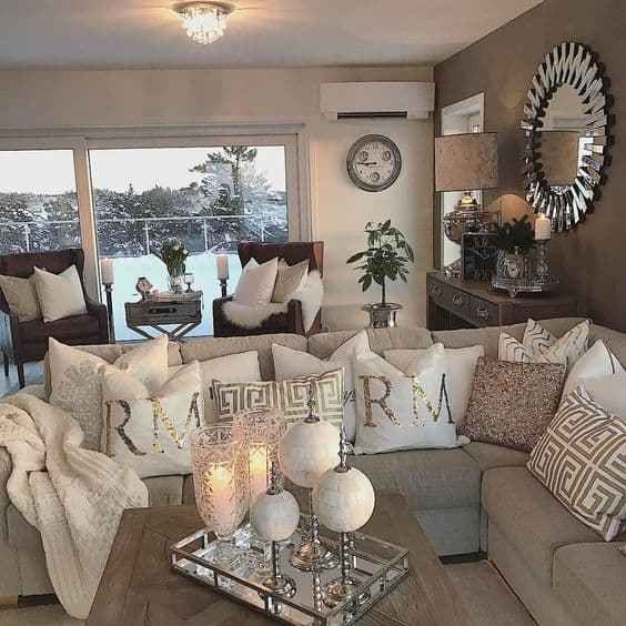 We Re Loving This White Silver And Gold Cozy Living Room Decor Livingroom Decor Beige Living Rooms Silver Living Room Gold Living Room Decor #white #and #silver #living #room #decor