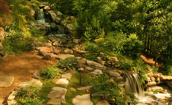 Waterfalls ponds and pond design on pinterest for Garden waterfalls do it yourself