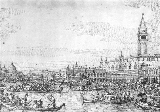 Venecia: El Canale di San Marco con el Bucintoro en el ancla. Barroco, 1732