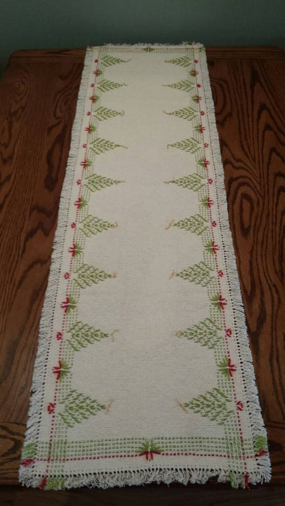 Swedish Weaving Holiday Table Runner 48x14