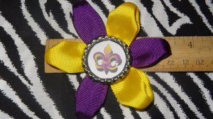 Sporty Bottlecap Flower NCAA LSU Tigers Le Fleur Hair Bow ~ Free Shipping Price: $4.00