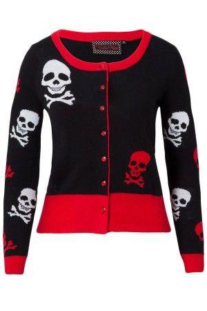 Jawbreaker skull x bones gothic tattoo shirt rockabilly sweater cardigan caa2864