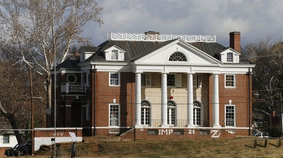 """The Phi Kappa Psi fraternity house at the University of Virginia in Charlottesville, Va. The fraternity was at the center of gang-rape allegations published in Rolling Stone magazine. The magazine said Friday that there were """"discrepancies"""" in its reporting."""