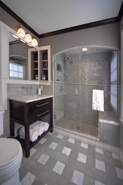 Gray Bathroom…love the dark crown molding 30 Bathroom Shower Ideas You'll Love Ideas - Bathroom Trim Ideas