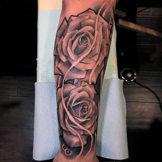 rose flowers half sleeve forearm tattoos for men black and gray tattoo pinterest forearm. Black Bedroom Furniture Sets. Home Design Ideas