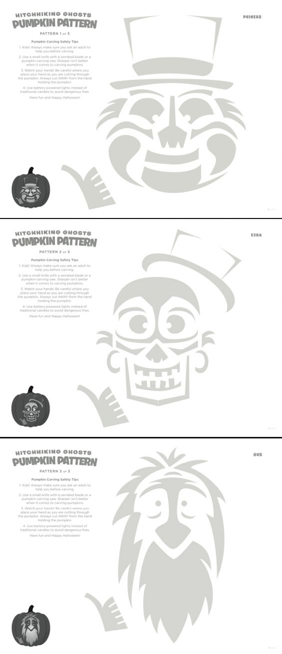 Disney Haunted Mansion Hitchhiking Ghosts Pumpkin Carving Stencils.  You have to have Gus, Ezra and Phineas at your Haunted Mansion Halloween Party!