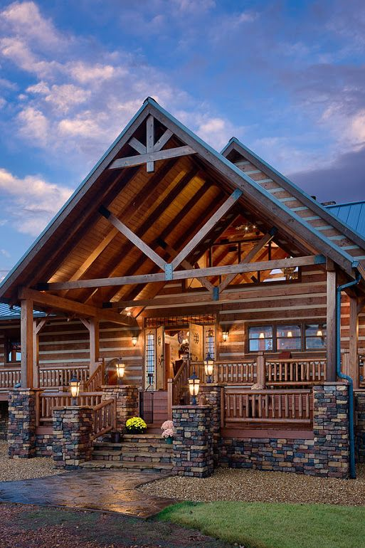 Photo Exterior Vertical Front Porch And Entry At Twilight Desocio Residence Paris Tennessee Honest Abe L Log Homes Exterior Log Cabin Exterior Log Homes