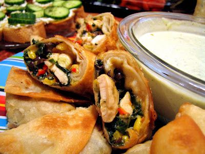 Southwest Egg Rolls with Avocado Ranch Dipping Sauce