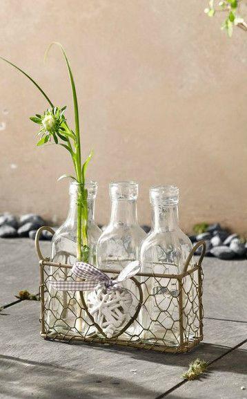 *Drahtkorb mit Flaschenvasen*Shabby*Vintage*Impressionen*Landhaus*Glas*Vasen-Set