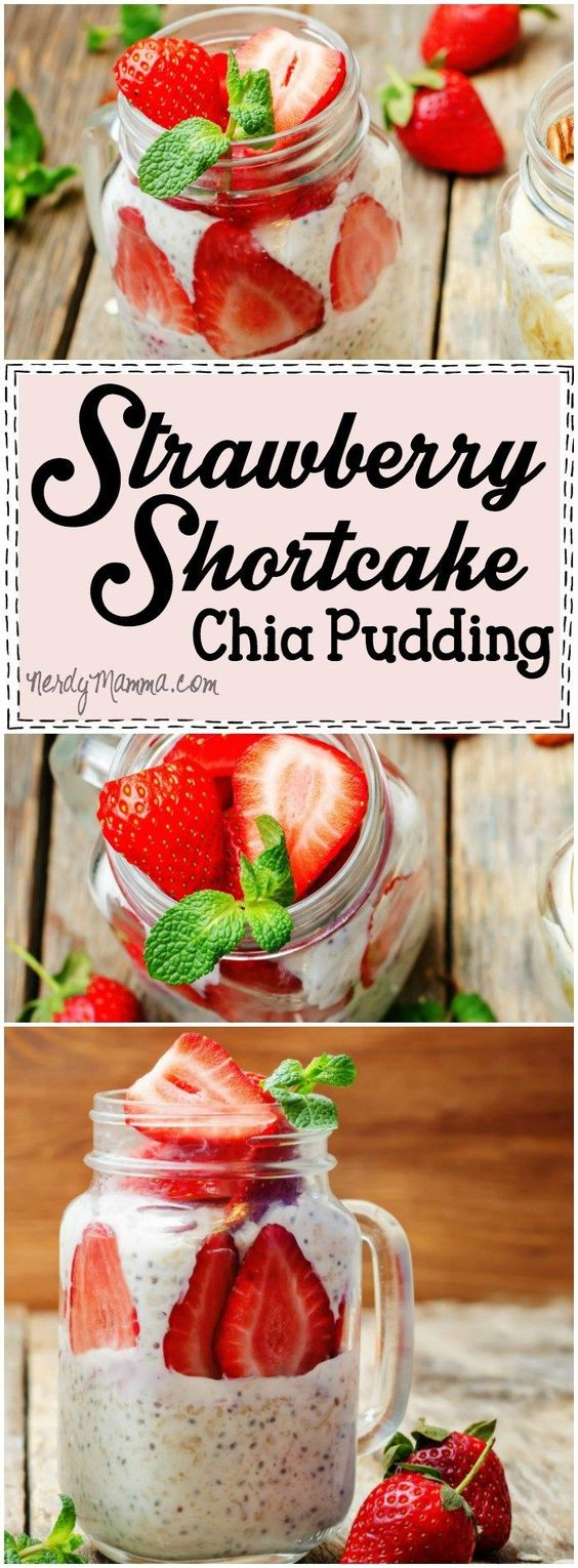I love love LOVE this recipe for strawberry shortcake breakfast chia pudding! What a yummy idea...can't wait to try it. Pinning for this weekend!