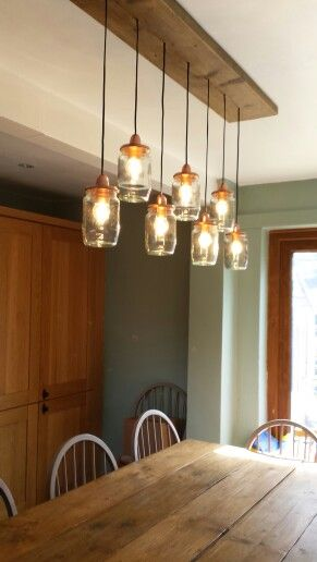 Our Jar Lights Above Our Scaffold Board Table Kitchen Finally Coming Together Driftwood