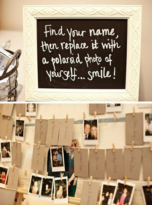 Hang the placecards on a string with clothespins.  On the table below the strings, provide Polaroid cameras.  Have the guests take pictures of themselves, and replace their placecard with the picture.