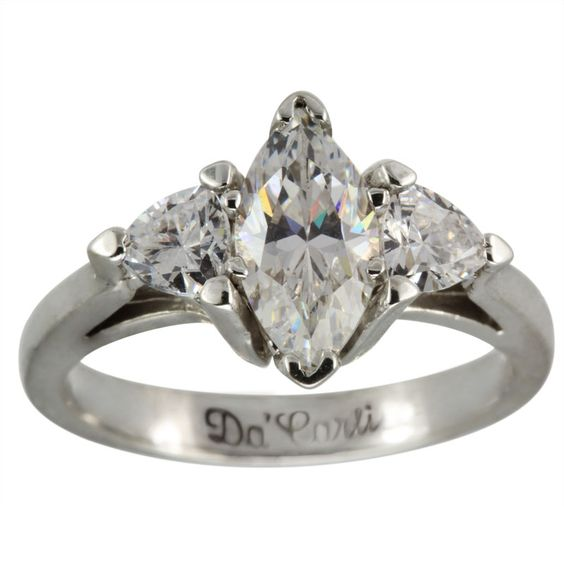 Marquise Diamond Engagement Ring With Trillions 3 4ct Marquise Cut Diamond 14