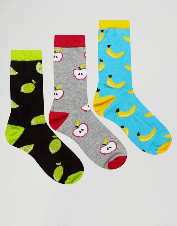 Image 1 ofASOS Socks With Fruit Design 3 Pack