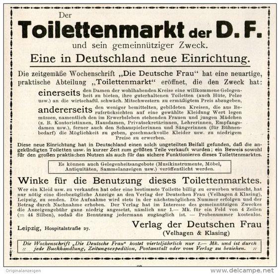 Original-Werbung/Inserat/ Anzeige 1911 - TOILETTENMARKT (SECOND-HAND-KLEIDUNG) - ca. 110 x 110 mm