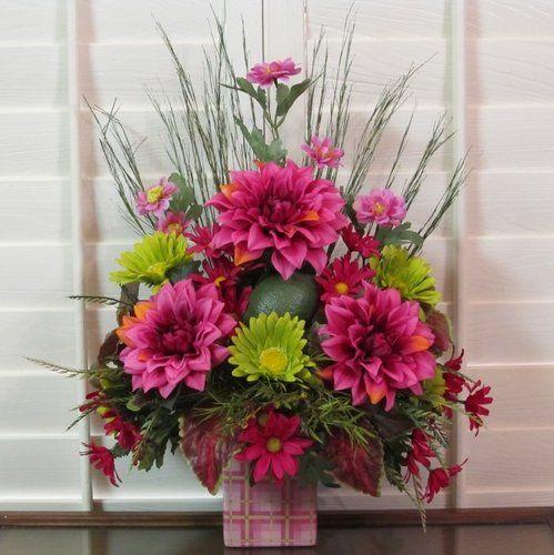 Summer Natural Silk Flower Arrangement Floral Pink Dahlia