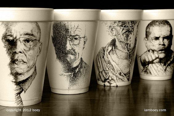 """i am the one who knocks"" by Boy Obsolete, via Flickr, The Lucrative Styrofoam Cup Cartoons Of Cheeming Boey [Art]"