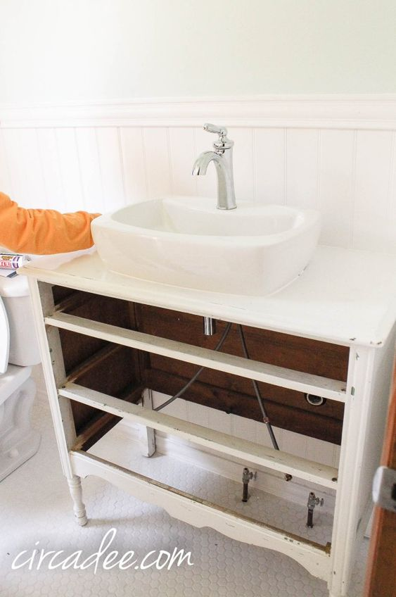 How to turn a dresser into a vanity and not loose any for Turning a dresser into a bathroom vanity