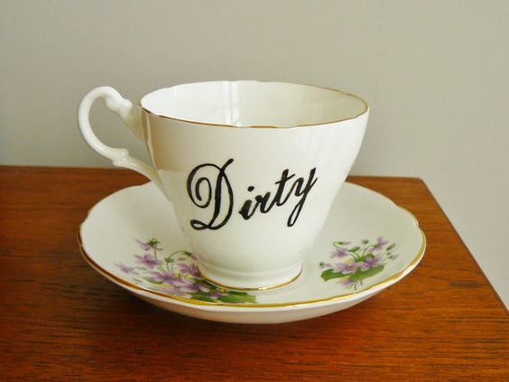 Dirty hand painted vintage bone china teacup by trixiedelicious
