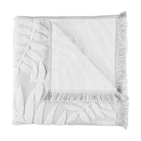 Jacquard Leaf Bath Towel Grey White Towel Bath Towels Grey