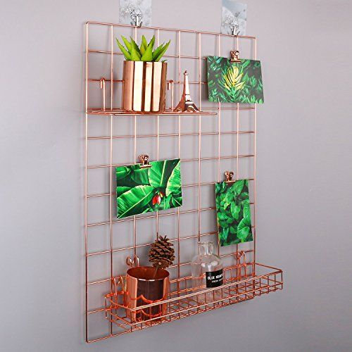 Simmer Stone Rose Gold Wall Grid Panel For Photo Hanging Display Wall Decoration Organizer Multi Functional Wall Storage Display Grid 5 Clips 4 Nails Offe Rose Gold Wall Decor Gold