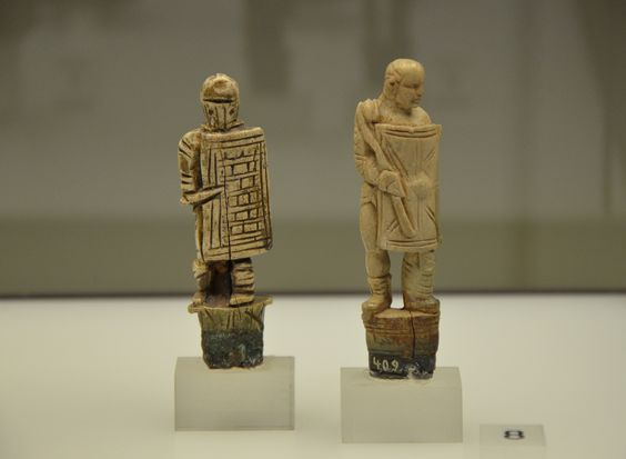 Ivory heads of two roman knifes in the form of gladiators, Romisch-Germanisches Museum, Cologne