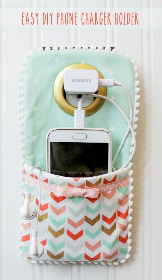 DIY Phone Charger Holder Holder - LOVE this idea!!:
