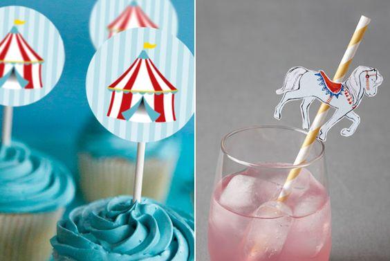 Carnival / circus cupcake toppers. DIY. Free printables. http://www.grenadine-acidulee.com/