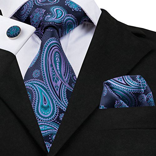 CAOFENVOO Mens Tie Pocket Square and Cufflinks Tie Set Gift Box