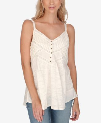 Lucky Brand Textured Crochet-Detail Camisole