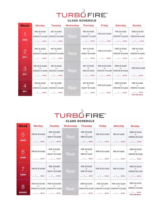 LOVES) Turbo Fire schedule. I LOVE Turbo Fire! (since I'm post ...