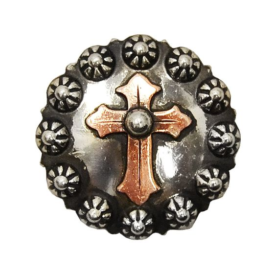 Teskey's Saddle Shop: Copper Cross Concho With Sunspots - Conchos - Conchos & Hardware - Tack -Teskey's