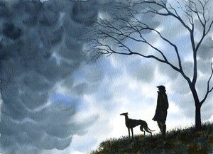 PAINTING GREYHOUND LURCHER WHIPPET DOGS TREES PRINT 6201 Dianne Heap COUNTRYSIDE