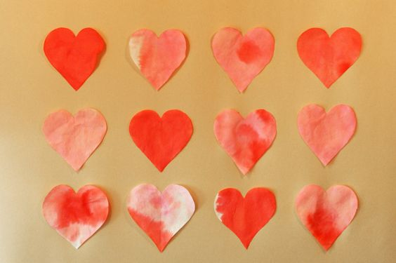 dyed valentine's hearts using coffee filters and food coloring