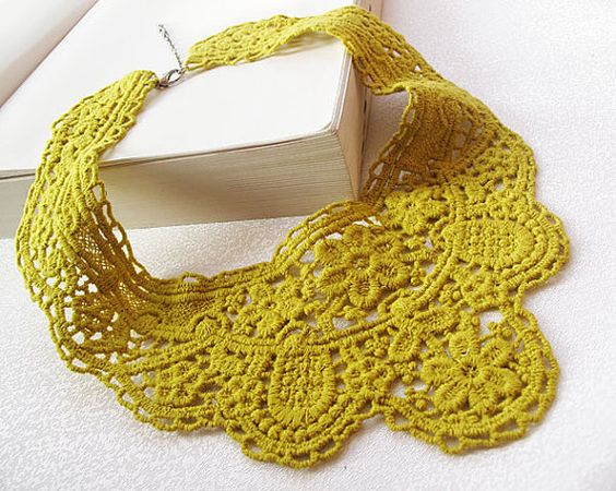 mustard yellow lace collar necklaceromantic  lace by aynurdereli, $22.00