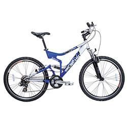 Bicicleta Houston Bike 21 Marchas, Aro 26, Suspensão Dianteira e Traseira, Quadro em Aço e Alumínio, Retrovisor, Mercury FS, Prata e Azul – MR26FSJ