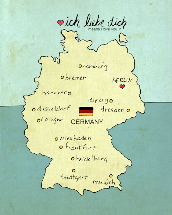 I Love You in Germany Typographic Digital Art Poster Print Map – Map of Europe in German Language