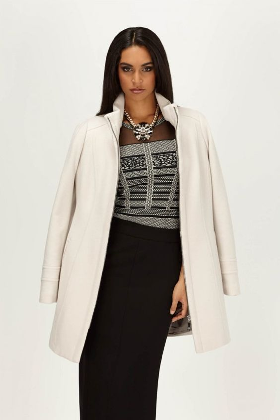 Cashmere Blend Stand Collar Coat: