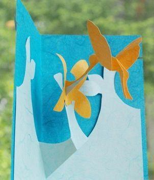 Kirigami humming bird card.