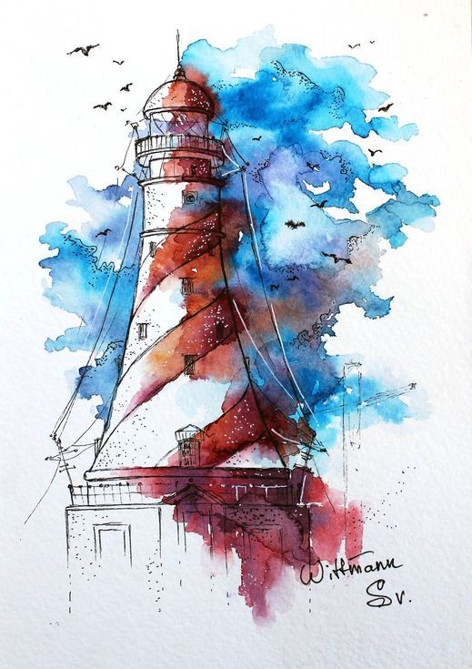Lighthouse 4 Original Watercolor Painting On Aquarell Paper