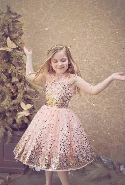 Sparkly Blush Sequined Flower Girls Dresses 2015 A-Line Crew ...