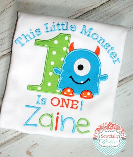 Is your little monster having a birthday? They will look adorable in this little monster shirt by Sewcially Chic! The colors can be changed to match you party theme.  Please be sure to give me your childs age and name at checkout.  ************ PLEASE READ BEFORE YOU ORDER *************** * Most items leave my shop in about two weeks. Please add shipping time in determining when you will receive your order. Standard shipping on my items is USPS First Class mail. I do offer upgrades to both…