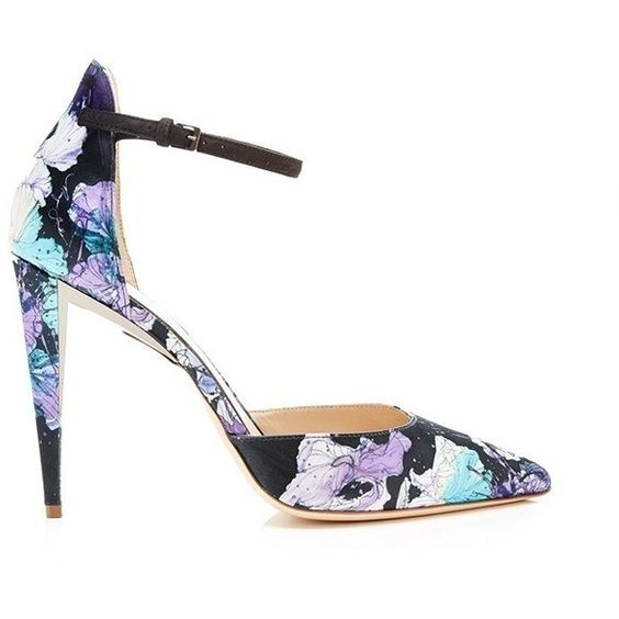 Monique Lhuillier Floral Lane Pump (35,960 DOP) ❤ liked on Polyvore featuring shoes, pumps, floral shoes, pointed-toe pumps, pointy toe shoes, pointy-toe pumps and floral pattern shoes