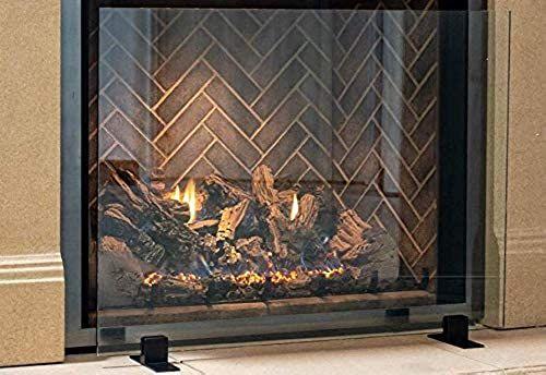 Buy Manhattan Modern Free Standing Glass Fireplace Screen Clear Black Feet Large 46 X 32 Online Looknewclothing In 2020 Glass Fireplace Screen Glass Fireplace Fireplace Screens