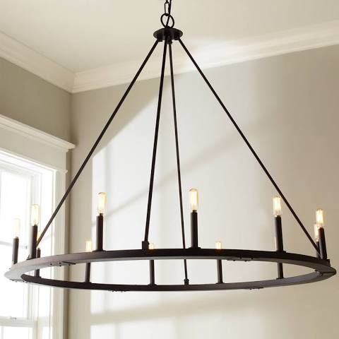 Minimalist Iron Ring Chandelier 12 Light Black Iron Metal 41 5 Hx48 25 Wx48 25 D With Images Ring Chandelier Iron Chandeliers