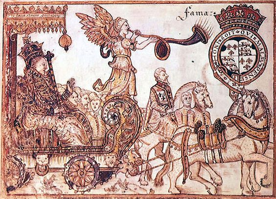Elizabeth I Riding the Chariot of Fame by Sir William Teshe (1570)