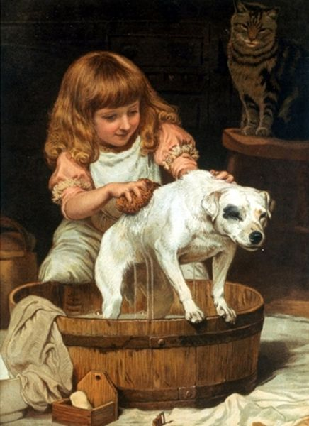 'The Order of the Bath' by Charles Burton Barber (1845-1894) English painter in the Victorian era who attained great success with his paintings of children and their pets.: