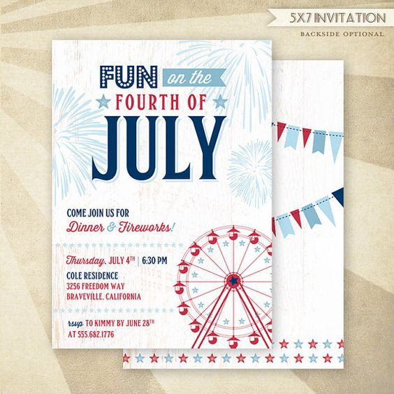 july 4th invitation ideas