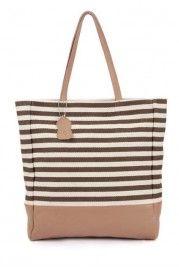 Oversized Elegant Stripes Detail Shoulder Bag - Shoulder Bags