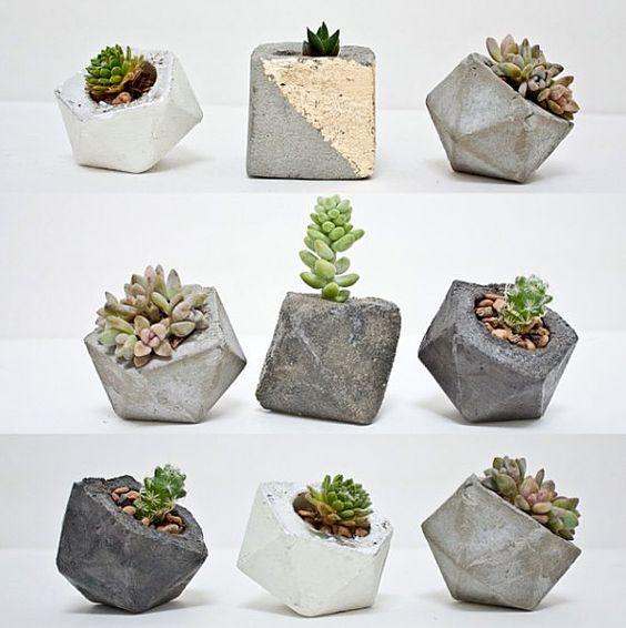 Modern small geometric planter for succulents by ConcreteGeometric: